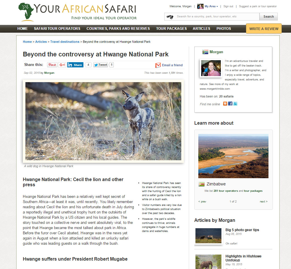 Beyond the controversy at Hwange National Park