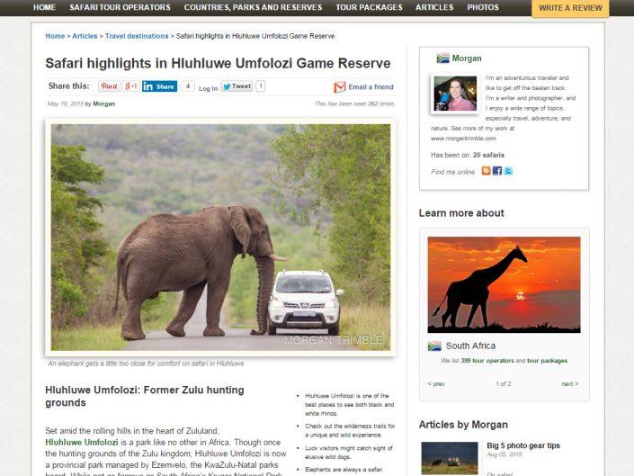 Safari highlights in Hluhluwe Umfolozi Game Reserve