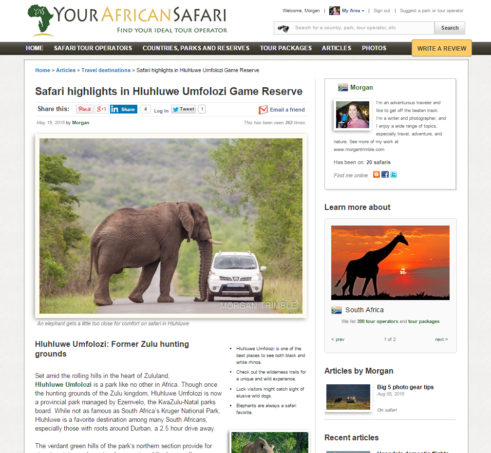 Safari highlights in Hluhluwe Umfolozi Game Reserve