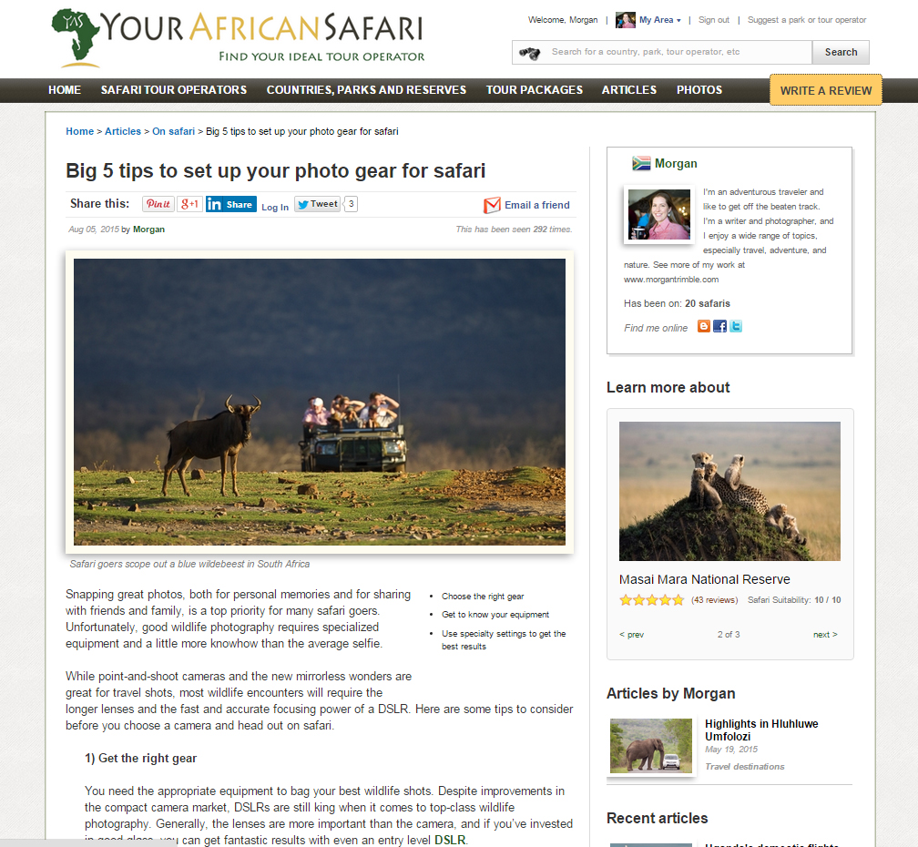 Big 5 tips to set up your photo gear for safari