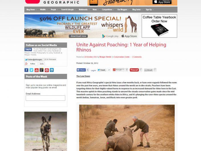 Unite Against Poaching: 1 year of helping rhinos