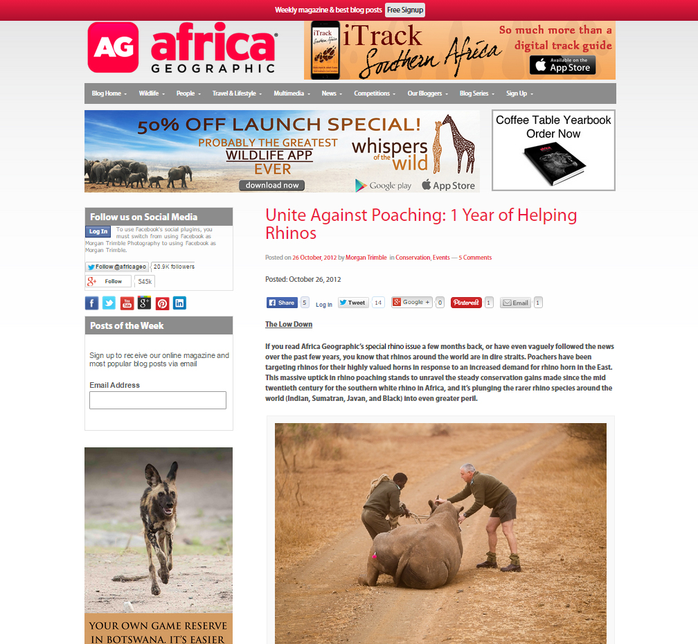 Unite Against Poaching: 1 year of helping rhinos