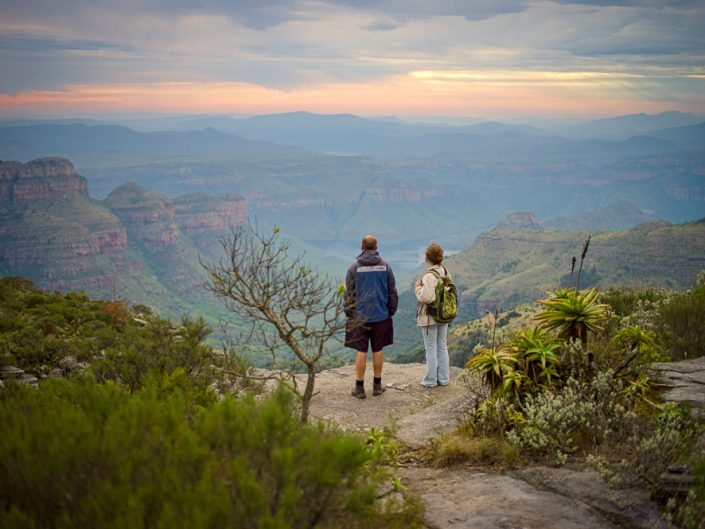 The scenic Three Rondavels of the Blyde River Nature Reserve can be seen from the top of  Mariepskop Mountain on the border of the Limpopo Province and Mpumalanga Province, South Africa.