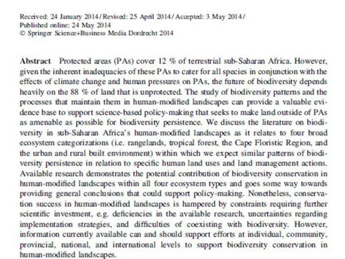 Supporting conservation with biodiversity research in sub-Saharan Africa's human-modified landscapes