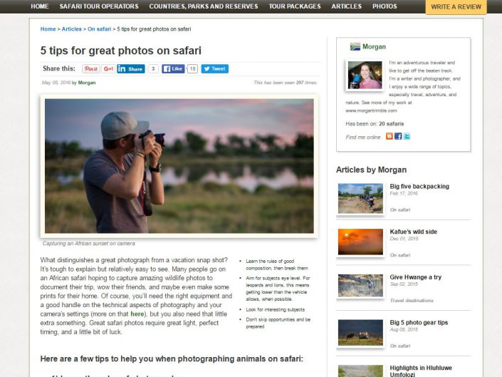 5 tips for great photos on safari