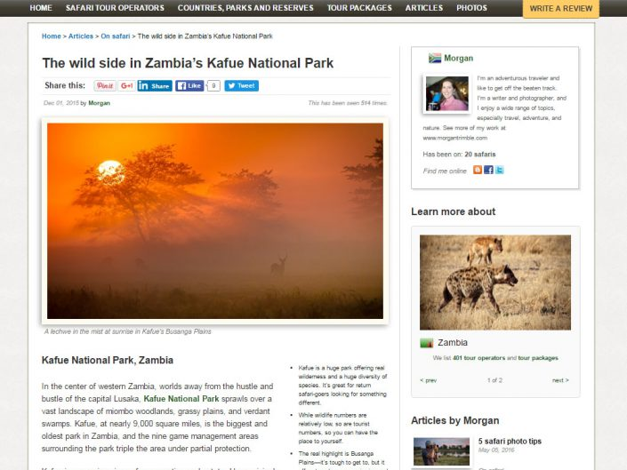 The wild side in Zambia's Kafue National Park