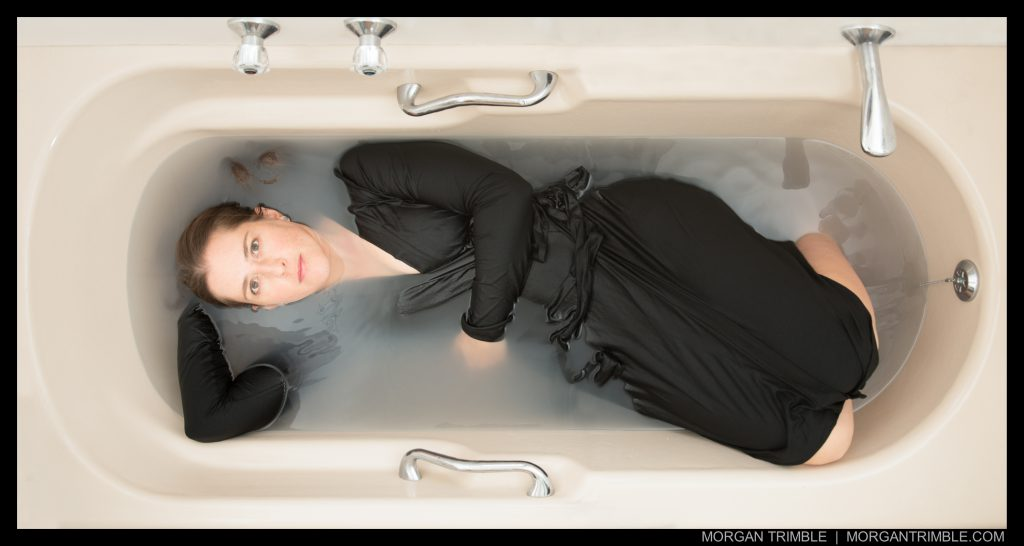 self-portrait in grey water, Cape Town water crisis 2018