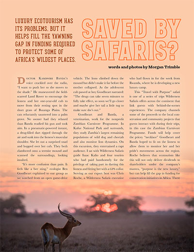 Saved by Safaris? Ecotourism and Funding for African Conservation