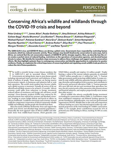 Conserving Africa's wildlife and wildlands through the COVID-19 crisis and beyond